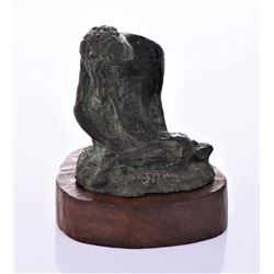 Mid Century Bronze Seated Nude With Green Patina