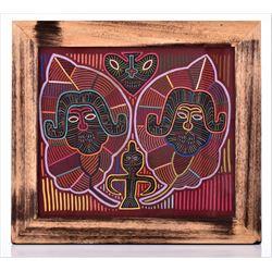 "Vintage ""Tribal Figures"" brilliant colored hand"