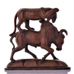Antique Indian Wood Carved Sculpture of A Fierce