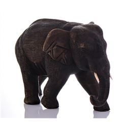 Large Solid Wood Carved Elephant.