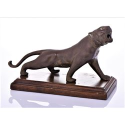 Antique India Bronze Lioness Sculpture Mounted On