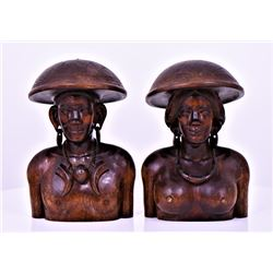 Two Large Indonesian Solid Wood Busts of A Tribal