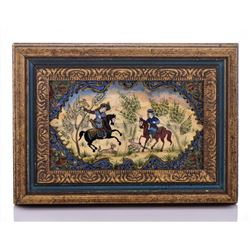 Vintage 1930'S Persian Hand Painted Panel Or Plaque