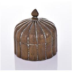 Antique Brass Lidded Dome Trinket Box.