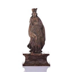 18Th Century St. Barbara Wood Carved Polychrome