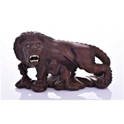 Antique Japanese Wood Carving of A Lion And Cub