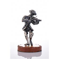 Large Ben Zion Sterling Silver Fiddler On Stone