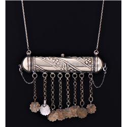 Jewish Silver Plated Mezuzah Necklace. A Mezuzah