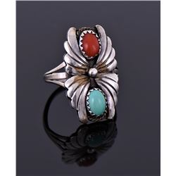 Sterling Turquoise And Red Coral Ring Signed H.