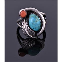Turquoise And Red Coral Ring Signed Dt