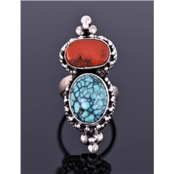 Native American Sterling Turquoise And Red Coral