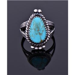 Sterling And Blue Turquoise Ring Signed.