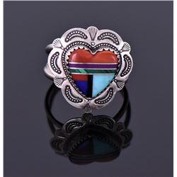 Sterling Mixed Heart Ring Signed QT