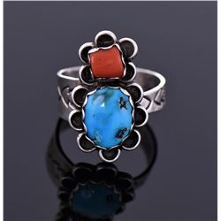 Sterling Blue Turquoise And Red Coral Ring Signed