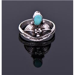 Mall Turquoise Ring Marked Sterling