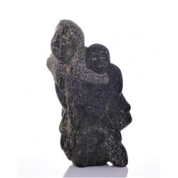 Vintage Inuit Dark Green Stone Carving of A Parent
