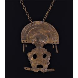 Antique Brass Pre-Columbian Style Tribal Necklace.