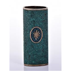 Vintage Bronze/Brass Crushed Turquoise Liter Case.