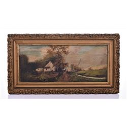 19Th Century Oil Painting On Mirror of A Farmhouse