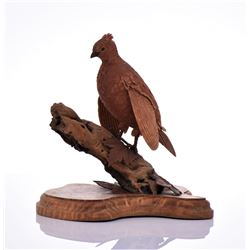 Vintage Wood Carved Bird Perched On Driftwood And