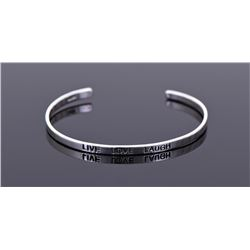Live Love Laugh Sterling Silver Cuff Bracelet.