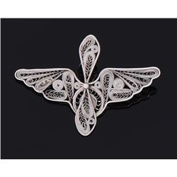 Vintage Filigree Sterling Silver Brooch.
