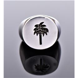 Palm Tree Sterling Silver Ring. Marked 925 LP.