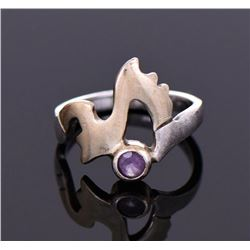 14K Gold Over Sterling Silver Amethyst Ring.