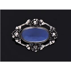 Antique German Blue Sterling Silver Rose Brooch.