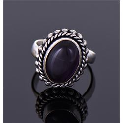 Dark Onyx Sterling Silver Rope Ring.