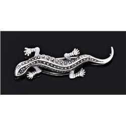 Antique Sterling Silver Marcasite Lizard Brooch.