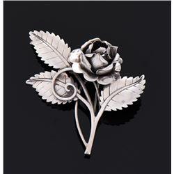 Antique Sterling Silver Rose Brooch.