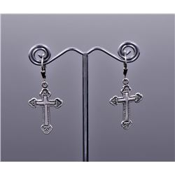 Antique Sterling Silver Crucifix Earrings.