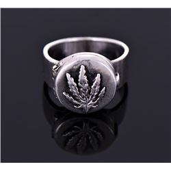 Sterling Poison Ring With Marijuana Leaf.