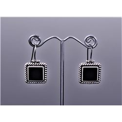 Black Onyx Sterling Silver Earrings.
