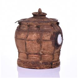 African Nkondi Terra Cotta Two Level Food Container