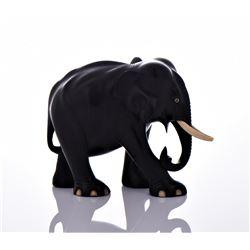 Large Ebony Solid Wood Elephant With Bone Tusks