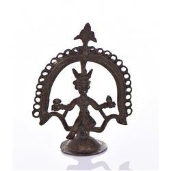 Antique African Ashanti Brass Figure Holding A