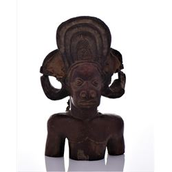 African Wood Carved Bust of A Tribal Warrior.