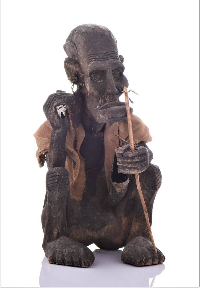 African Tribal Medicine Man Wood Sculpture