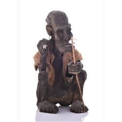 African Tribal Medicine Man Wood Sculpture.