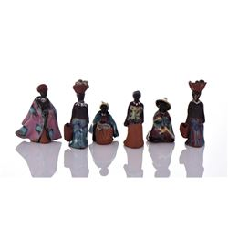 Six Vintage South African Hand Painted Glazed Clay