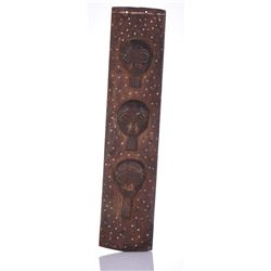 African Wood Carved Wall Plaque With three faces.