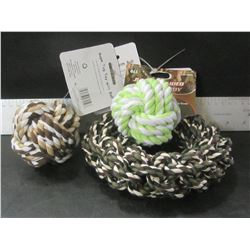 Braided Rope Dog Toy's / 2 Balls and 1 Hoop
