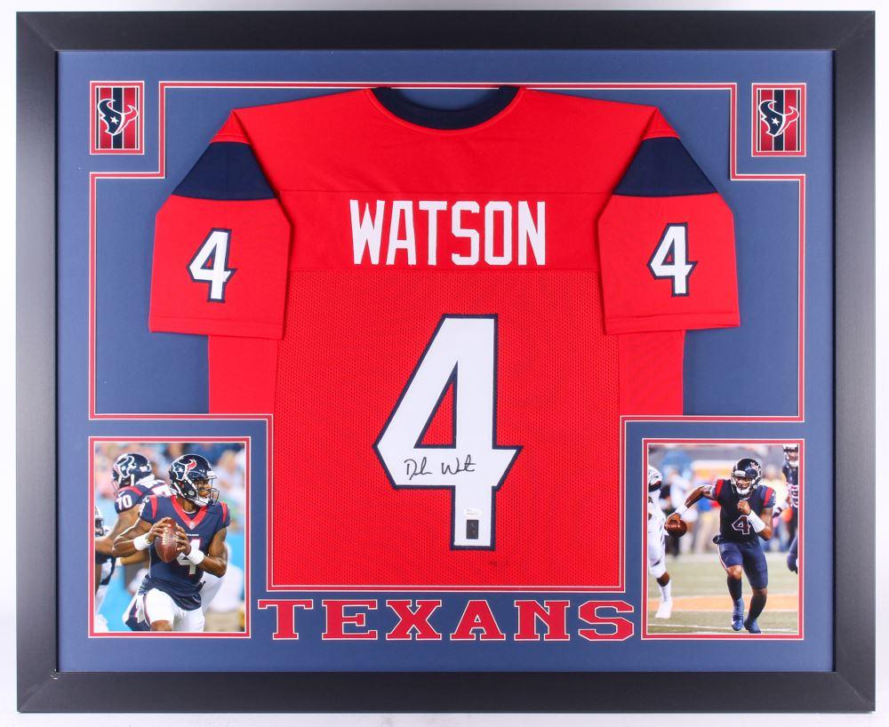 41457c43bb4 Image 1   Deshaun Watson Signed Texans 35x43 Custom Framed Jersey (JSA COA  Watson Hologram