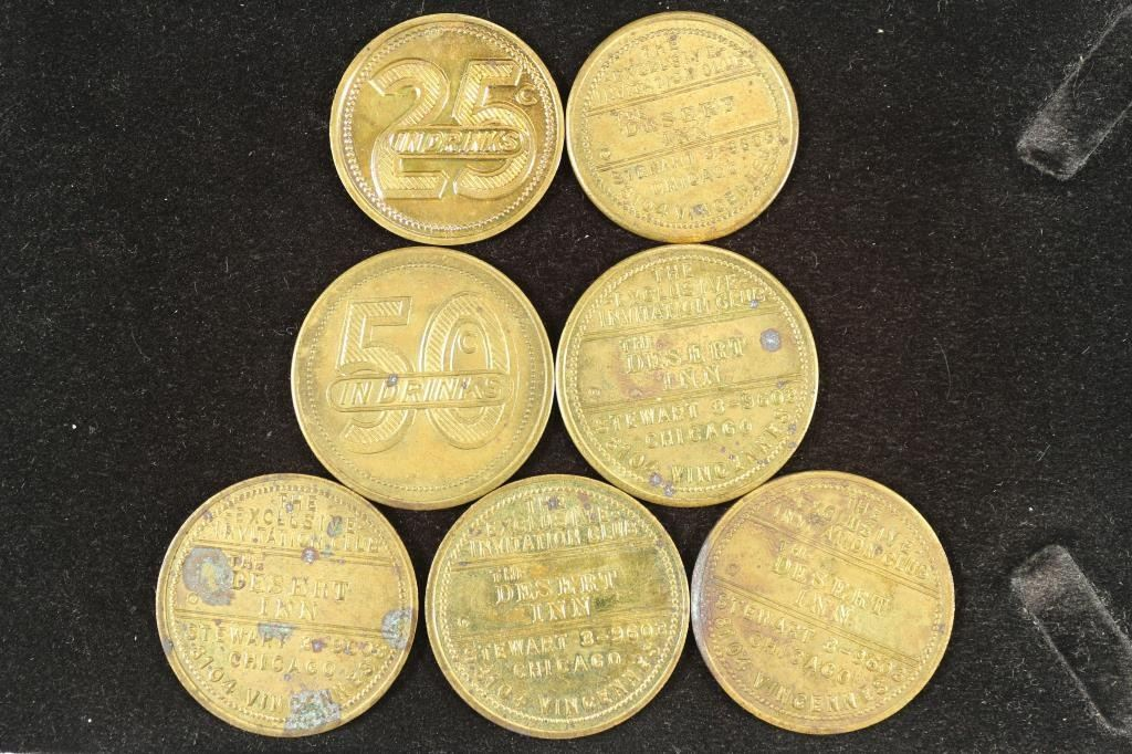 Image 1 : 7-VINTAGE 25 CENT & 50 CENT DRINK TOKENS FROM ...
