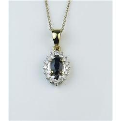 18CAI-13 BLUE SAPPHIRE  DIAMOND PENDANT