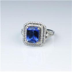 18CAI-3 TANZANITE  DIAMOND RING