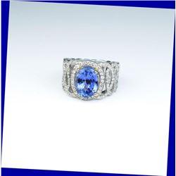 18CAI-64 TANZANITE  DIAMOND RING