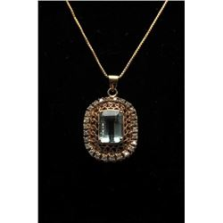 18RPS-2 AQUAMARINE  DIAMOND PENDANT